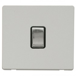 Click Definity Flat Plate Screwless 20A DP Ingot Switch, Black Insert with Polished Chrome Switch with Polar White Cover Plate