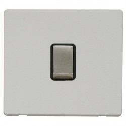 Click Definity Flat Plate Screwless 20A DP Ingot Switch, Black Insert with Stainless Steel Switch with Polar White Cover Plate