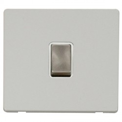 Click Definity Flat Plate Screwless 20A DP Ingot Switch, Polar While Insert with Brushed Steel Switch with Polar White Cover Plate
