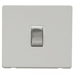 Click Definity Flat Plate Screwless 20A DP Ingot Switch, Polar While Insert with Polished Chrome Switch with Polar White Cover Plate