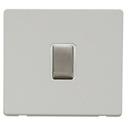 Click Definity Flat Plate Screwless 20A DP Ingot Switch, Polar While Insert with Stainless Steel Switch with Polar White Cover Plate