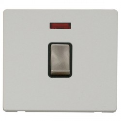 Click Definity Flat Plate Screwless 20A DP Ingot Switch with neon, Black Insert with Brushed Steel Switch with Polar White Cover Plate