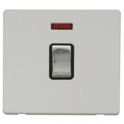 Click Definity Flat Plate Screwless 20A DP Ingot Switch with neon, Black Insert with Polished Chrome Switch with Polar White Cover Plate