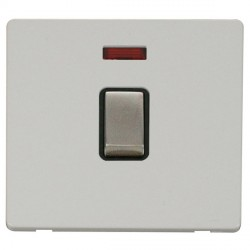 Click Definity Flat Plate Screwless 20A DP Ingot Switch with neon, Black Insert with Stainless Steel Switch with Polar White Cover Plate