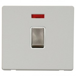 Click Definity Flat Plate Screwless 20A DP Ingot Switch with neon, Polar While Insert with Brushed Steel Switch with Polar White Cover Plate