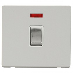 Click Definity Flat Plate Screwless 20A DP Ingot Switch with neon, Polar While Insert with Polished Chrome Switch with Polar White Cover Plate