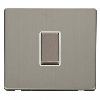 Click Definity Flat Plate Screwless 10AX 1 Gang Polar White Insert with Stainless Steel Intermediate Switch with Stainless Steel Cover Plate