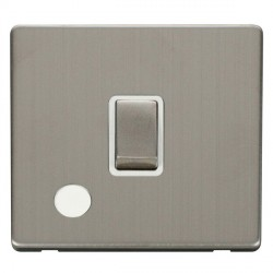 Click Definity Flat Plate Screwless 20A DP Ingot Switch with Flex Outlet, Polar White Insert, Stainless Steel Switch and Stainless Steel Cover Plate