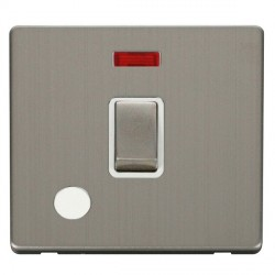 Click Definity Flat Plate Screwless 20A DP Stainless Steel Ingot Switch with Flex Outlet and Neon, Polar White Insert with Stainless Steel Cover Plate