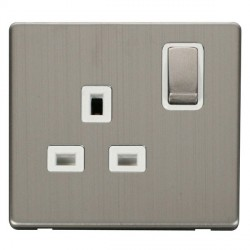 Click Definity Flat Plate Screwless UK 1 Gang 13A Ingot Switched Socket, Polar White Insert, Stainless Steel Switch and Stainless Steel Cover Plate