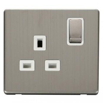 Click Definity Flat Plate Screwless UK 1 Gang 13A Ingot Switched Socket, Polar White Insert, Stainless Steel Switch and Stainless Steel Cover Plate