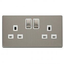 Click Definity Flat Plate Screwless UK 2 Gang 13A Ingot Switched Socket, Polar White Insert, Stainless Steel Switch and Stainless Steel Cover Plate