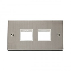 Click Deco Victorian Stainless Steel 2 Gang Plate (2 x 2) Aperture with White Insert