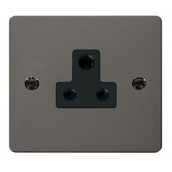 Click Define Black Nickel Flat Plate 5A Round Pin Socket Outlet with Black Insert