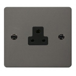Click Define Black Nickel Flat Plate 2A Round Pin Socket Outlet with Black Insert