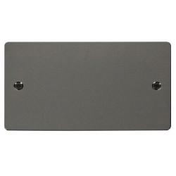 Click Define Black Nickel Flat Plate 2 Gang Blank Plate