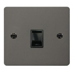 Click Define Black Nickel Flat Plate Single RJ11 Socket (Ireland/USA) with Black Insert