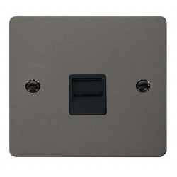 Click Define Black Nickel Flat Plate Single Telephone Socket Secondary with Black Insert