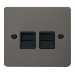 Click Define Black Nickel Flat Plate Twin Telephone Socket Secondary with Black Insert