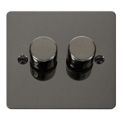 Click Define Black Nickel Flat Plate 2 Gang 2 Way 400W Dimmer Switch