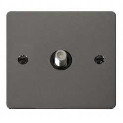 Click Define Black Nickel Flat Plate 1 Gang Satellite Socket with Black Insert