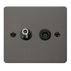 Click Define Black Nickel Flat Plate 1 Gang Satellite and Isolated Coaxial Socket with Black Insert