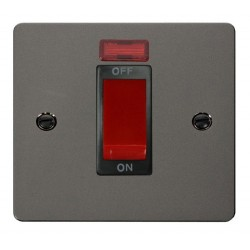 Click Define Black Nickel Flat Plate 1 Gang 45A Double Pole Switch with Neon with Black Insert