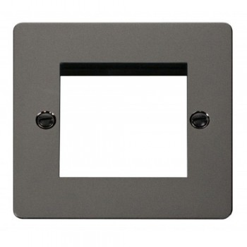 Click Define Black Nickel Flat Plate 1 Gang Twin Aperture