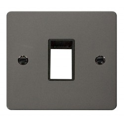 Click Define Black Nickel Flat Plate 1 Gang Plate Single Switch Aperture with Black Insert