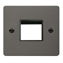 Click Define Black Nickel Flat Plate 1 Gang Plate Twin Switch Aperture with Black Insert