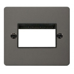 Click Define Black Nickel Flat Plate 1 Gang Plate Triple Switch Aperture with Black Insert