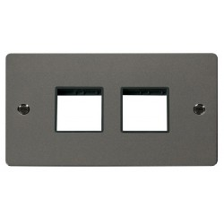 Click Define Black Nickel Flat Plate 2 Gang Plate (2+2) Switch Aperture with Black Insert