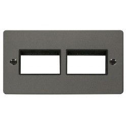 Click Define Black Nickel Flat Plate 2 Gang Plate (3+3) Switch Aperture with Black Insert