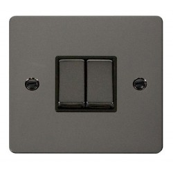 Click Define Black Nickel Flat Plate Ingot 10AX 2 Gang 2 Way Switch with Black Insert