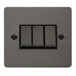 Click Define Black Nickel Flat Plate Ingot 10AX 3 Gang 2 Way Switch with Black Insert