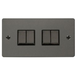 Click Define Black Nickel Flat Plate Ingot 10AX 4 Gang 2 Way Switch with Black Insert