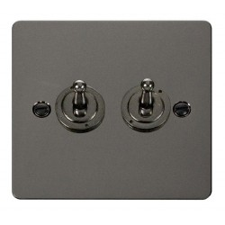 Click Define Black Nickel Flat Plate 10AX 2 Gang 2 Way Toggle Switch