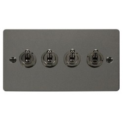 Click Define Black Nickel Flat Plate 10AX 4 Gang 2 Way Toggle Switch