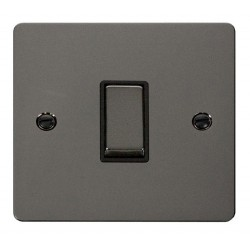 Click Define Black Nickel Flat Plate Ingot 10AX 1 Gang Intermediate Switch with Black Insert