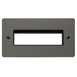 Click Define Black Nickel Flat Plate 2 Gang Plate 6 In-Line Switch Aperture with Black Insert