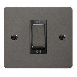 Click Define Black Nickel Flat Plate Ingot 1 Gang 45A Double Pole Switch with Black Insert