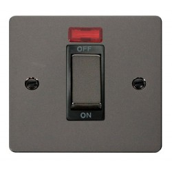 Click Define Black Nickel Flat Plate Ingot 1 Gang 45A Double Pole Switch With Neon with Black Insert