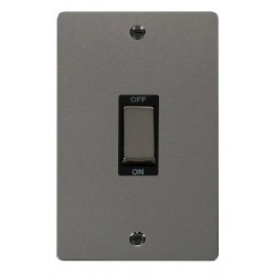 Click Define Black Nickel Flat Plate Ingot 2 Gang 45A Double Pole Switch with Black Insert