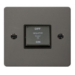Click Define Black Nickel Flat Plate Ingot 10A 3 Pole Fan Isolation Switch with Black Insert