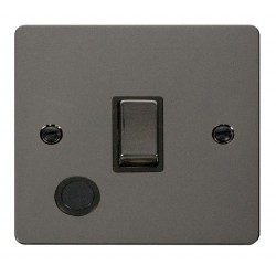 Click Define Black Nickel Flat Plate Ingot 20A 1 Gang Double Pole Switch and Flex Outlet with Black Insert