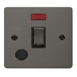 Click Define Black Nickel Flat Plate Ingot 20A 1 Gang Double Pole Switch and Flex Outlet with Neon with Black Insert
