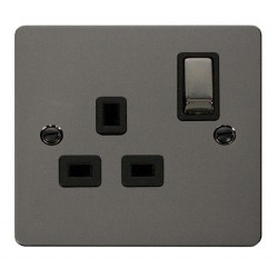 Click Define Black Nickel Flat Plate Ingot 1 Gang 13A Double Pole Switched Socket with Black Insert