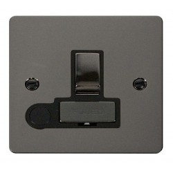 Click Define Black Nickel Flat Plate Ingot 13A Switched Connection Unit and Flex Outlet with Black Insert