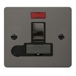 Click Define Black Nickel Flat Plate Ingot 13A Switched Connection Unit and Flex Outlet with Neon with Black Insert