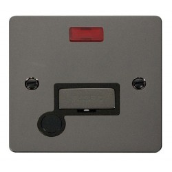 Click Define Black Nickel Flat Plate Ingot 13A Connection Unit and Flex Outlet with Neon with Black Insert